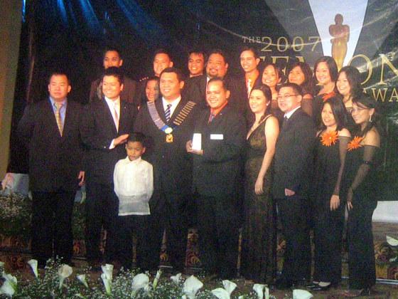 Receiving the Best Sports Development Program Merit Award from 2007 National President Glenn Santos