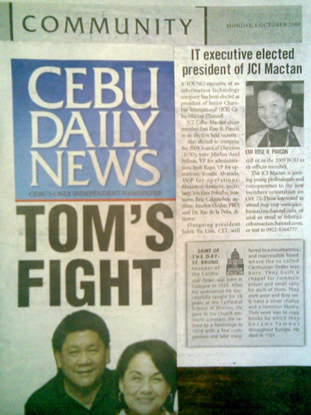 Cebu Daily News reports about the election – Junior Chamber