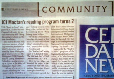 "JCI (Cebu-)Mactan (Channel)'s reading program turns 2."" Cebu Daily News. Vol. 11, No. 657. Cebu City. 06 Dec. 2008: Community, 22."