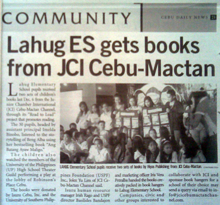 """Lahug ES gets books from JCI Cebu-Mactan (Channel)."" Cebu Daily News. Vol. 11, No. 665. Cebu City. 14 December 2008: Community, 22."