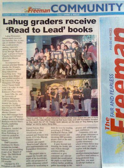 """Lahug graders receive 'Read to Lead' books. "" The Freeman. Vol. 43, No. 149. Cebu City. 14 December 2008: Community, 23."