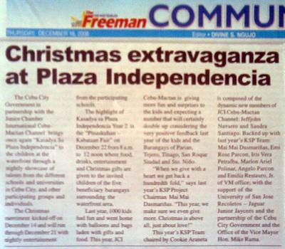 """Christmas extravaganza at Plaza Independencia. "" The Freeman. Vol. 43, No. 153. Cebu City. 18 December 2008: Community, 29."