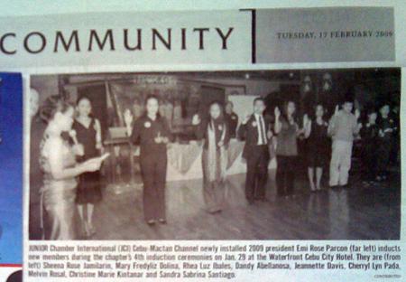 """JUNIOR Chamber International ..."" Cebu Daily News. Year 12, No. 10. Cebu City. 17 February 2009: Community, 16."