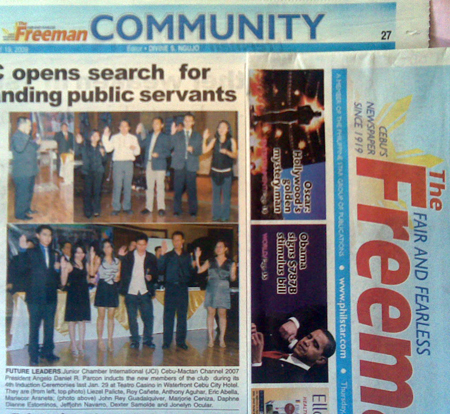 """Future Leaders"" The Freeman. Vol. 43, No. 214. Cebu City. 19 Feb. 2009: Community, p.27."